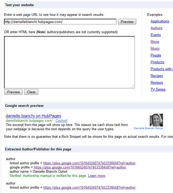 Danielle's Hubpages Profile in Google's Rich Snippet Testing Tool